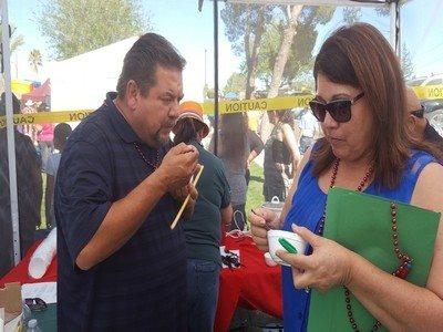 Judges hard at work tasting the chili